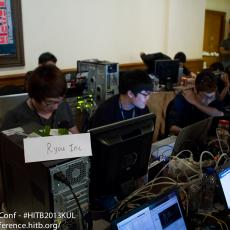 Time for the afternoon coffee break and to see what's happening at the CTF area (Team Ryou Inc from Korea pictured)