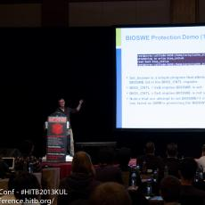 Corey presented attacks which would allow an attacker to arbitrarily re-flash the BIOS on a number of systems despite the presence of signed BIOS enforcement. Scary stuff.